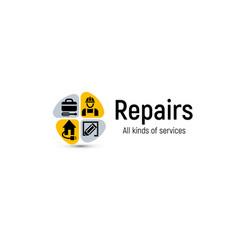 Home repair tools logo house renovation vector