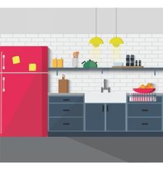 Kitchen furniture Cozy interior vector image