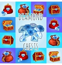 Set of diamond icon chest bag with gemstone vector image vector image