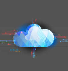 Cloud computing on a gray vector