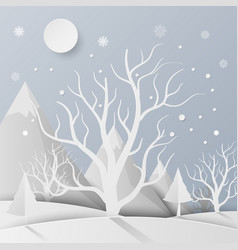 forest with snow and mountain paper art style vector image vector image