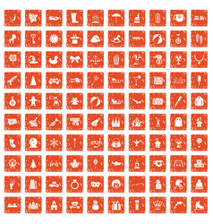 100 children icons set grunge orange vector image vector image