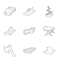 Felling icons set outline style vector image