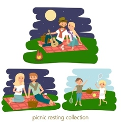 Set of Happy family picnic resting vector image vector image