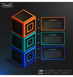 Isometric infographic with colorful cubes vector