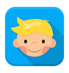 Smiling boy face app icon with long shadow vector image vector image