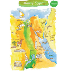 watercolor map of attractions egypt vector image vector image