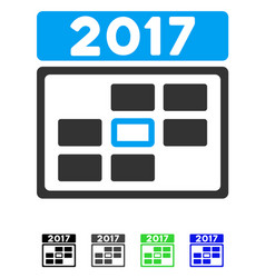 2017 calendar week day flat icon vector image