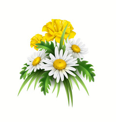 3d yellow diasy cornflower elegant bouquet vector