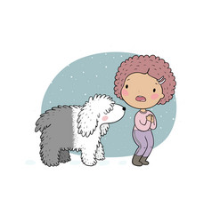 a funny girl and a big white dog scared woman and vector image