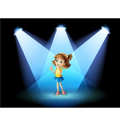 A girl standing in the spotlight vector image