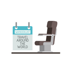 Airplane chair with wanderlust label vector