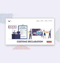 Airport security landing page template tiny vector