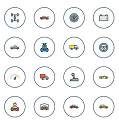 automobile icons colored line set with station vector image