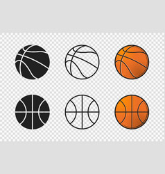 Basketball ball set icons orange color silhouette vector