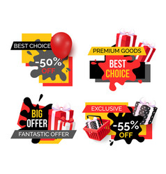 best choice and premium goods sale banners set vector image