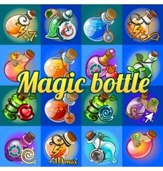 big set different magic bottles vector image