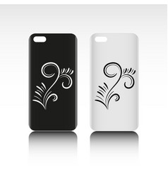 Blank phone case with graphic design black and vector
