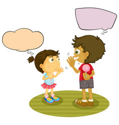 Boy and girl talking with speech balloon vector