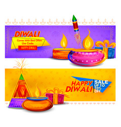 Burning diya on happy diwali holiday sale vector