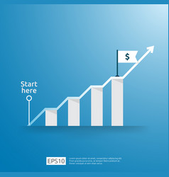 Business growup chart bar with arrow direction vector