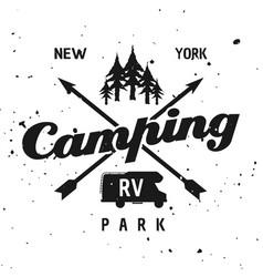 camping park monochrome vintage emblem vector image