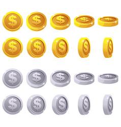 Cartoon set 3d metallic coins animation vector