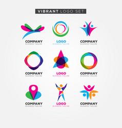 colorful vibrant logo set sign symbol icon vector image