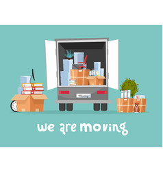 Corporate moving into new office concept business vector