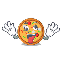 crazy pizza mascot cartoon style vector image