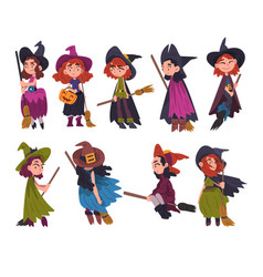 Cute little witches collection girls wearing vector