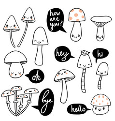 cute outline cartoon mushrooms vector image