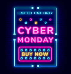 cyber monday poster and buy now neon link vector image