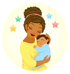 Dark skinned mother and baby vector