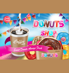 delicious donut ads with latte coffee advertising vector image