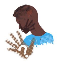 Desperate black young man victim violence vector
