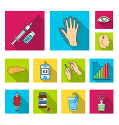 Diabetes flat icons in set collection for design vector