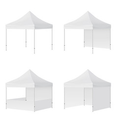 Display tents mockups with side views isolated vector