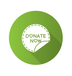 Donate now round sticker flat design long shadow vector