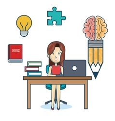 education online woman desk laptop vector image