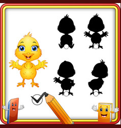 find the correct shadow cute baby chicken waving vector image