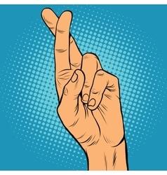 Fingers crossed lie doubt true vector
