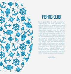 Fishing club concept with fish vector
