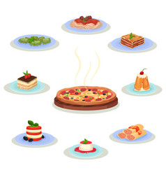 flat set of traditional italian food tasty vector image