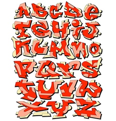 Graffiti font alphabet letters vector image
