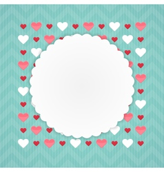 Greeting card with hearts on a blue vector image