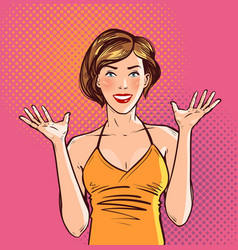Happy beautiful girl or young woman pop art retro vector