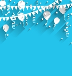 Happy birthday background with balloons stars and vector image