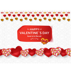 Happy valentine day background with glossy hearts vector