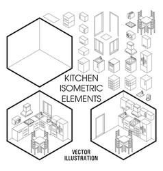 Isometric kitchen interior constructor set vector